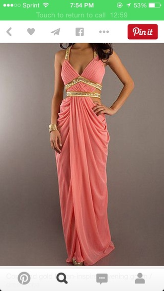 dress greek prom prom dress pink gold drap pretty gorgeous drapped jewelry bling