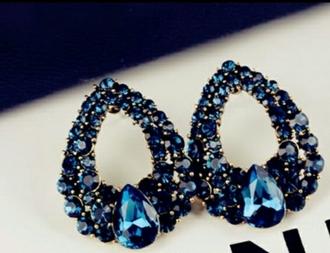 jewels earrings rhinestones blue classy girly