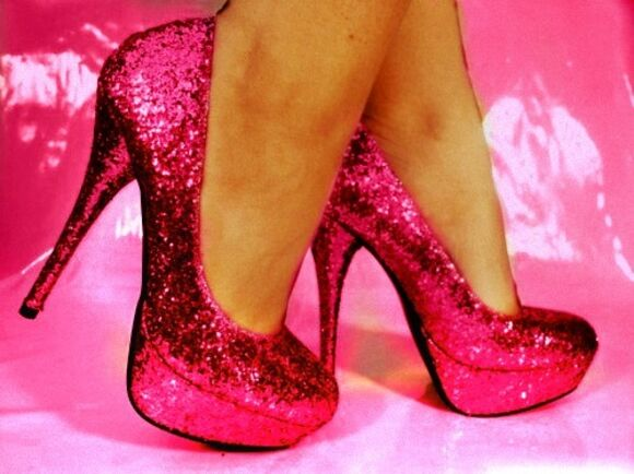 shoes high heels fuschia glittery heels glittery pumps