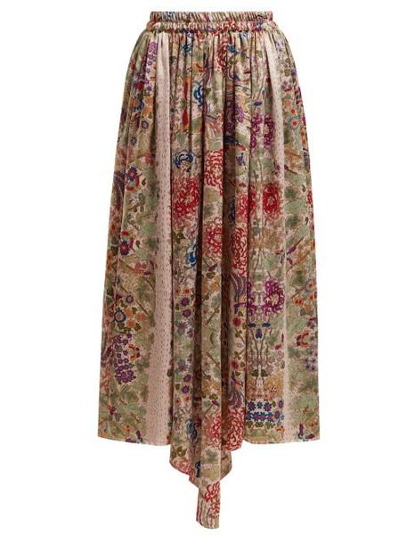 By Walid - Margot Floral Print Silk Midi Skirt - Womens - Pink Print