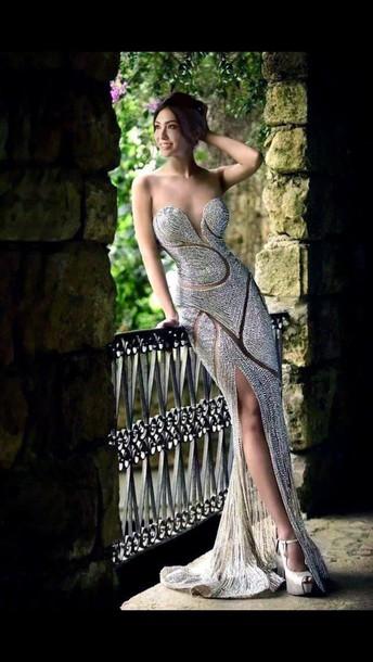 dress beading white mesh