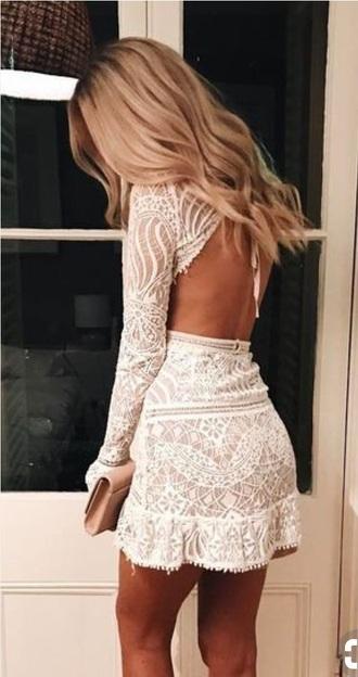 dress adorable open back dress white lace dress