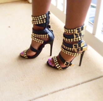 studded shoes sandals gold shoes high heels strappy sandals