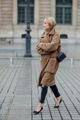 the fashion guitar blogger shoes jeans bag coat sweater jewels teddy bear coat pumps winter outfits