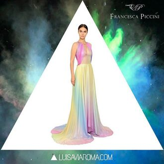 dress francesca piccini gown luxury high end haute couture colorful multicolor prom dress prom elegant party pastel pink blue yellow long dress silk