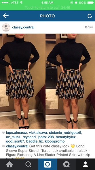 shirt black printed skirt skater skirt skirt turtleneck