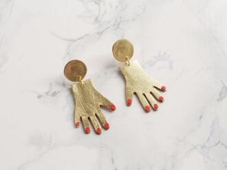 jewels hand metallic gold red nails earrings leather handmade gold jewelry holiday gift gift ideas