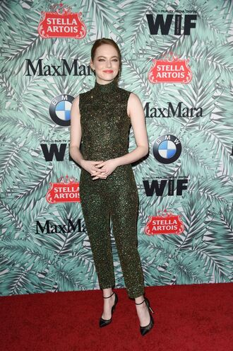 jumpsuit pumps emma stone glitter top pants oscars 2017 oscars