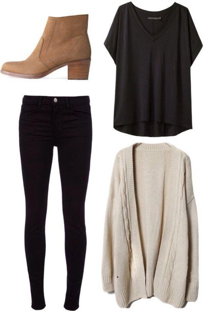 shoes booties shirt cardigan style clothes