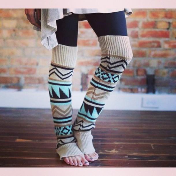 leggings aztec print legwarmers