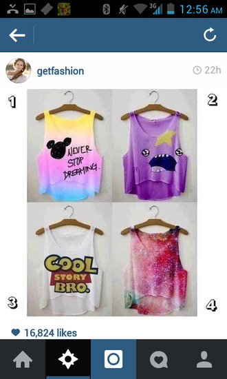 shirt tank top cami disney toy story galaxy print adventure time crop tops style summer