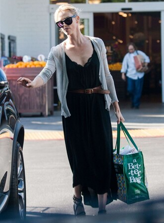 maxi skirt charlize theron cardigan