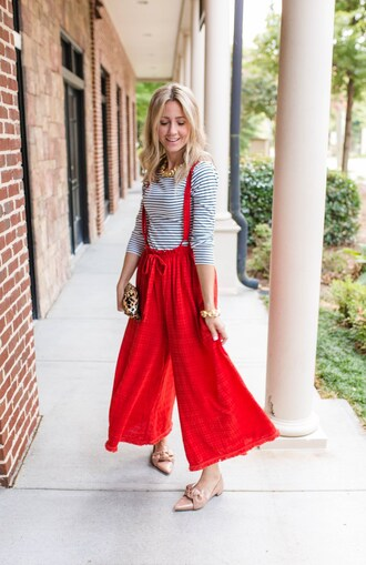 citypeach blogger jumpsuit pants sweater suspenders red pants loafers fall outfits