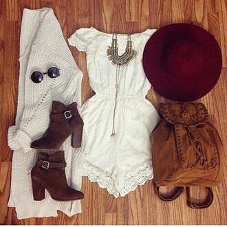 romper white hat cardigan lace romper