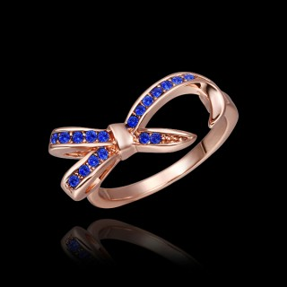 Amazing Solid Yellow Gold Sapphire Blue Topaz Rings for Women--Cheap Wholesale