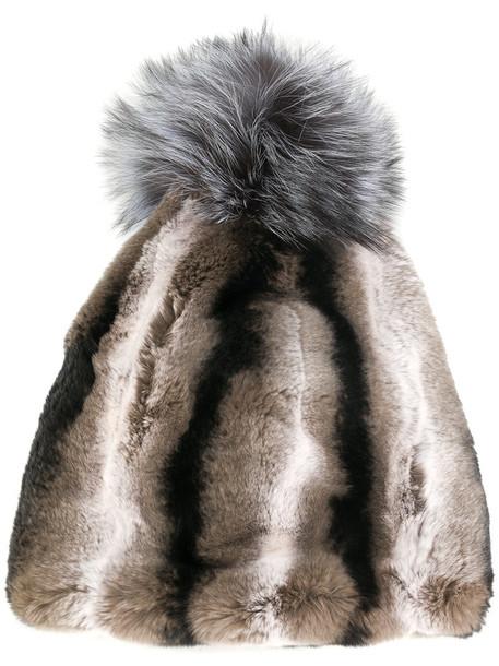 Liska fur fox women beanie pom pom beanie cotton hat