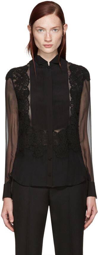shirt black silk top