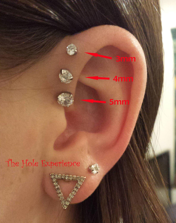 Forward Helix Earring, Tragus, Cartilage, Earring, 3 Prong Set CZ, 16g 6mm, Triple forward Helix, Triple Cartilage Piercing