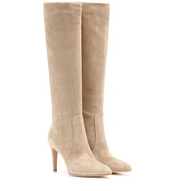 knee-high boots high boots suede beige shoes