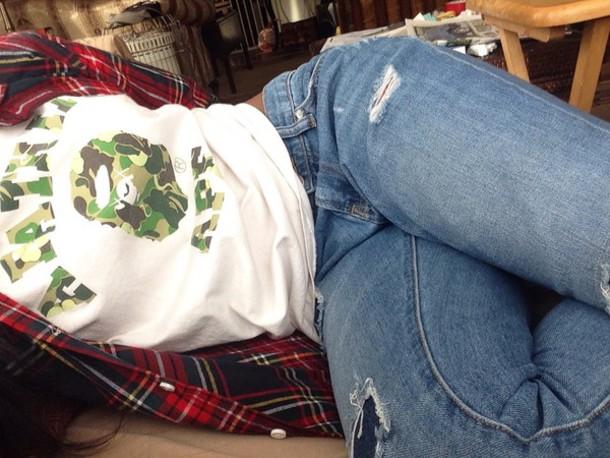 jacket bathing ape shirt plaid shirt