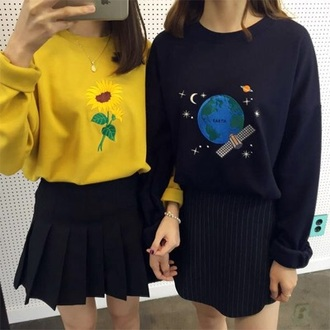sweater shirt bff bff sweaters yellow sweater black sweater oversized sweaters and skirts bright grunge embroidered patch oversized sweater yellow iron patch long sleeves blue earth flowers 90s style