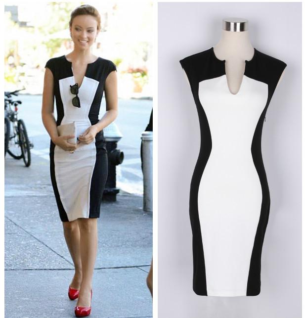 Summer 2014 Fashion Sleeveless Dress Women's Black And White Patchwork Pencil Dress Women V-neck Casual Dresses Plus Size Sexy | Amazing Shoes UK