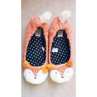 shoes sweet orange nice sweety love fox fashion hipster girly slippers