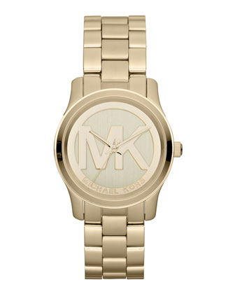 Michael Kors Mid-Size Golden Stainless Steel Logo Three-Hand Watch - Michael Kors