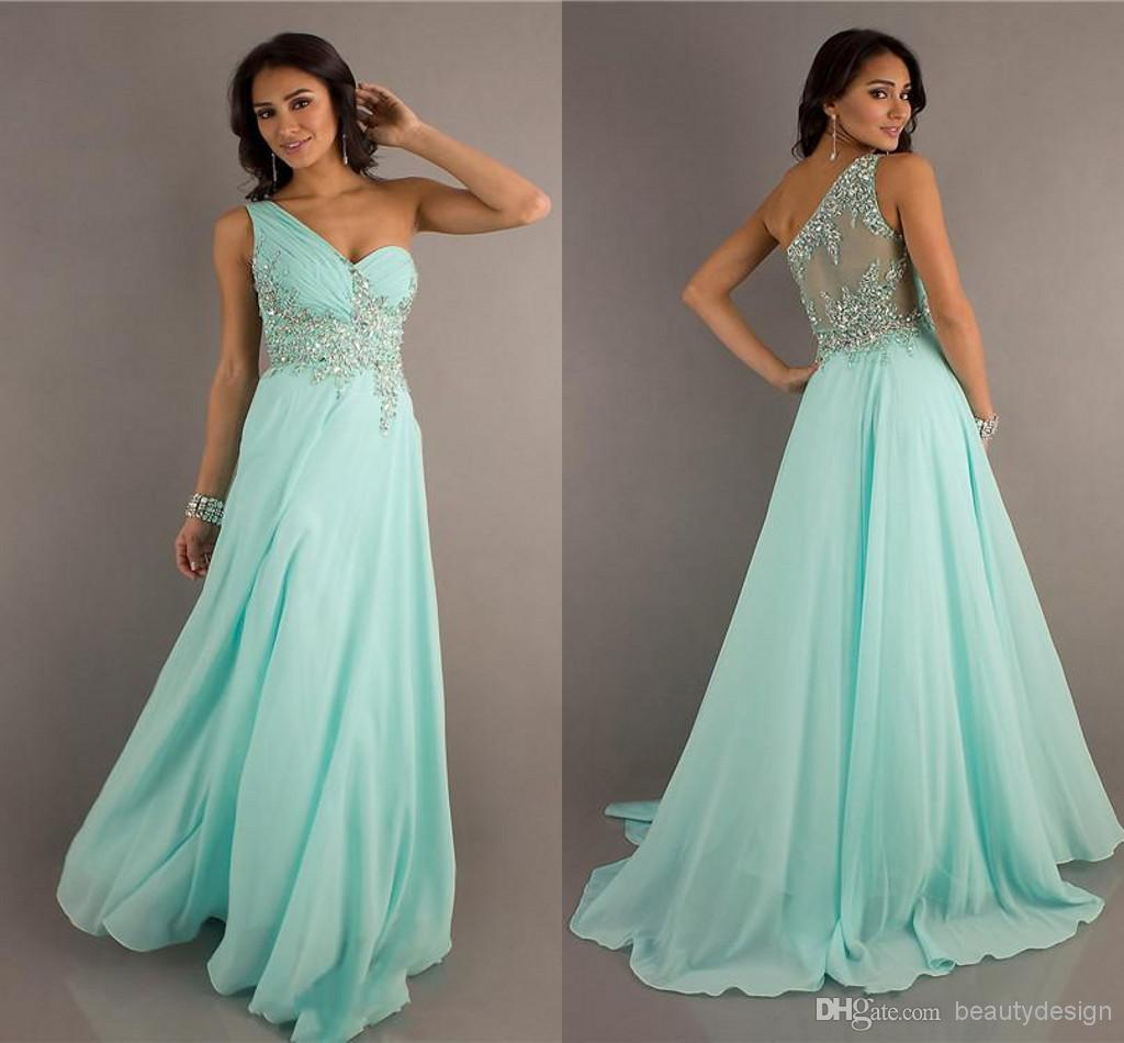 Buy hot selling a line chiffon formal evening party dresses one shoulder applique sequins beaded court train backless prom gowns e322, $98.96