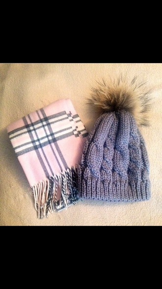 scarf pink grey black winter outfits fall hat fur