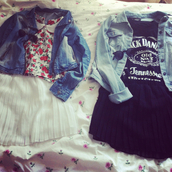 skirt,collar,sunglasses,flowers,shirt,denim jacket,jacket