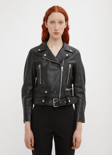Acne Studios Mock Motorcycle Leather Jacket in Black size FR - 36