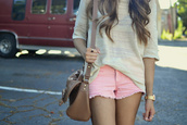 beige blouse,shorts,blouse,sweater,pull,short,pink short