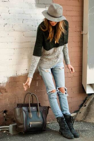 sweater knitted sweater jeans fine knit jumper bag blouse hat jacket coat jewels pants shirt shorts sunglasses t-shirt shoes contrast color black and grey long sleeves jumper knitwear