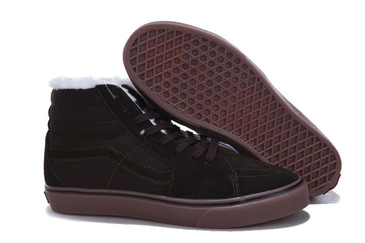 suede sk8 hi furry winter warm skate shoes - total global brown