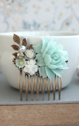 hair accessory hair clip roses floral mint wedding hairstyles blue wedding accessory etsy country wedding hair adornments