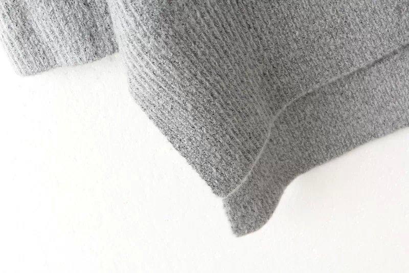 Grey v neck long sleeve high