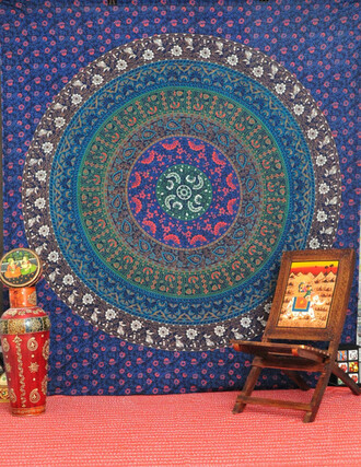 home accessory tapestry mandala wall hanging queen bedcover bedding hippie tapestry beach throw sofa cover table runner living room decor wall decor home decor blue