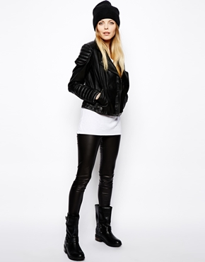 ASOS | ASOS Leather Jacket with Biker Panel Detail at ASOS