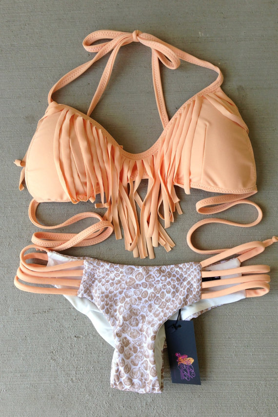 Nude Peach And Sand Snake Fringe bikini set by BeachBabeSwimwear