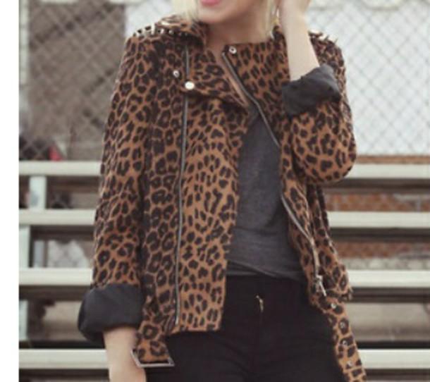 coat leopard print jacket vintage jacket