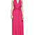 Fuchsia Halter Twisted Ruched Backless Maxi Dress