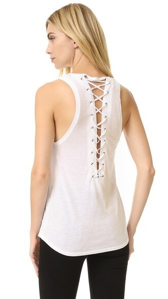 back soft lace white top