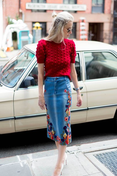 yael steren blogger skirt sweater shoes jewels sunglasses make-up nail polish red sweater floral skirt denim skirt embroidered embroidered skirt white heels embroidered denim skirt midi skirt short sleeve red top aviator sunglasses streetstyle spring outfits midi floral skirt rose embroidered