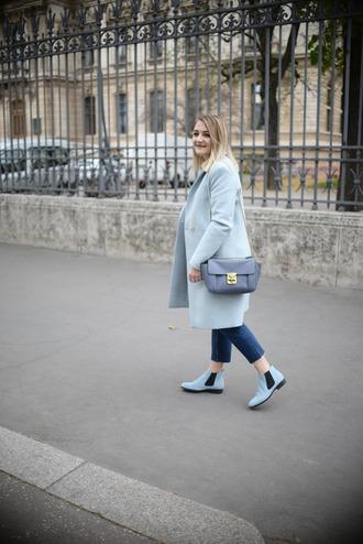 paris grenoble blogger jewels shoes blue coat boots skinny jeans