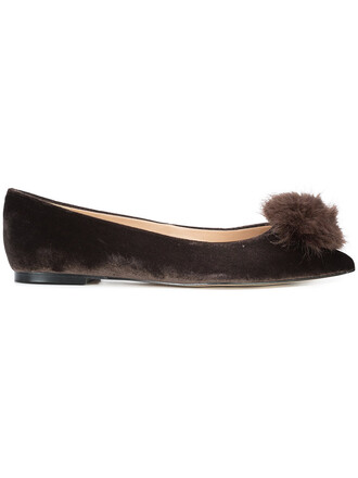 fur women shoes leather brown