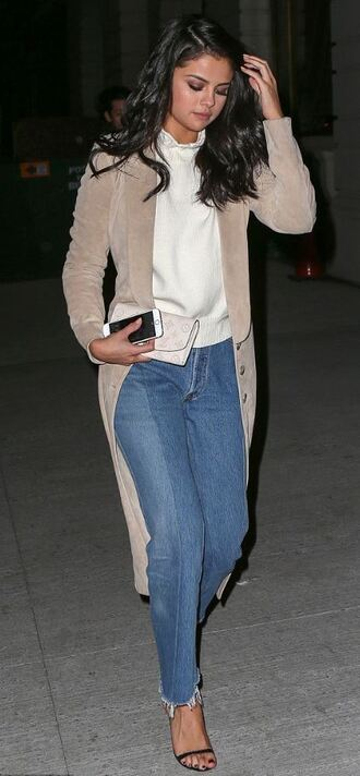 jeans cardigan sweater fall outfits sandals selena gomez socks coat trench coat