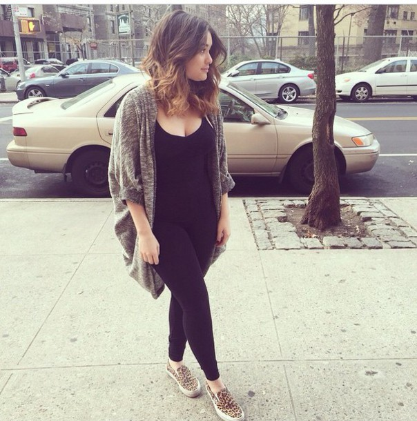 Cardigan Oversized Sweater Cover Cover Up Black Shirt Tank Top Leggings Vans Shoes