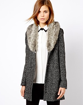 Warehouse Tweed Faux Fur Collar Coat at ASOS