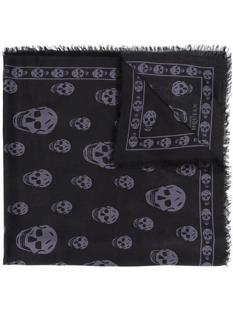 skull women scarf black silk